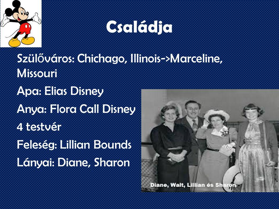 Családja Szül ő város: Chichago, Illinois->Marceline, Missouri Apa: Elias Disney Anya: Flora Call Disney 4 testvér Feleség: Lillian Bounds Lányai: Diane, Sharon