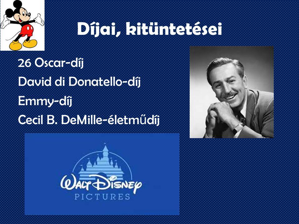 Díjai, kitüntetései 26 Oscar-díj David di Donatello-díj Emmy-díj Cecil B. DeMille-életm ű díj