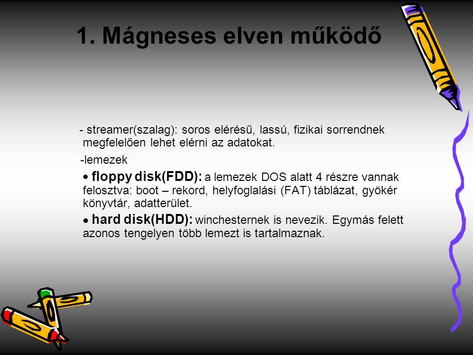 - streamer(szalag): soros elérésű, lassú, fizikai sorrendnek megfelelően lehet elérni az adatokat. -lemezek  floppy disk(FDD): a lemezek DOS alatt 4