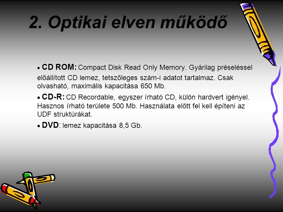 2. Optikai elven működő  CD ROM: Compact Disk Read Only Memory. Gyárilag préseléssel előállított CD lemez, tetszőleges szám-i adatot tartalmaz. Csak