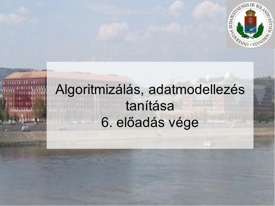Algoritmizálás, adatmodellezés tanítása 6. előadás vége