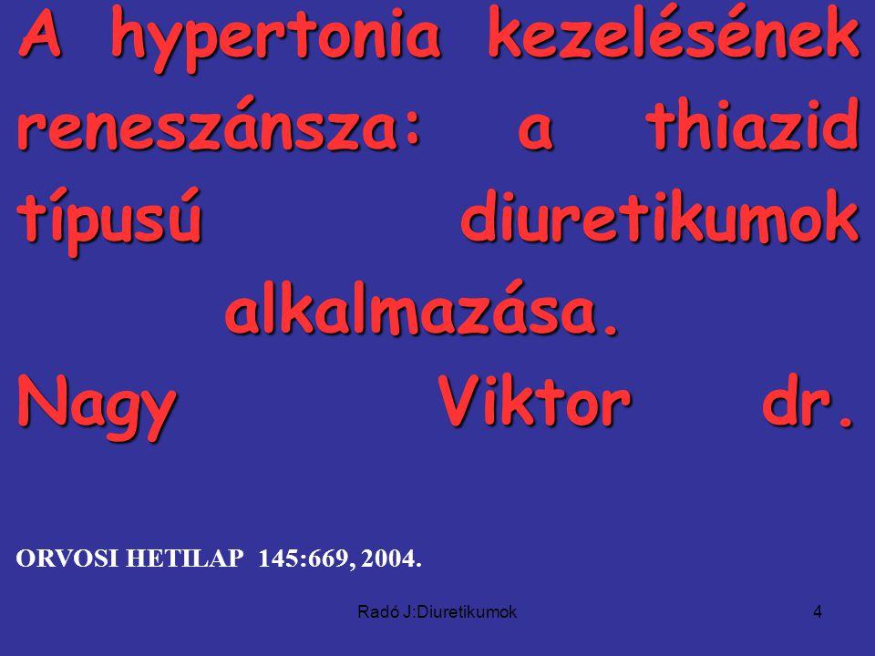 Radó J:Diuretikumok4 A hypertonia kezelésének reneszánsza: a thiazid típusú diuretikumok alkalmazása.