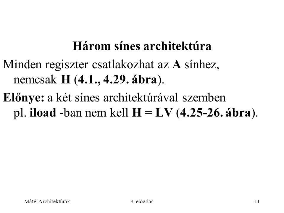 Máté: Architektúrák8. előadás11 Három sínes architektúra Minden regiszter csatlakozhat az A sínhez, nemcsak H (4.1., 4.29. ábra). Előnye: a két sínes