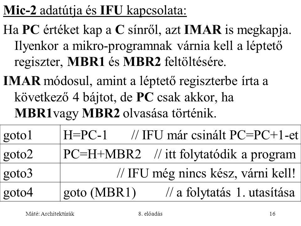 Máté: Architektúrák8. előadás16 Mic-2 adatútja és IFU kapcsolata: Ha PC értéket kap a C sínről, azt IMAR is megkapja. Ilyenkor a mikro-programnak várn