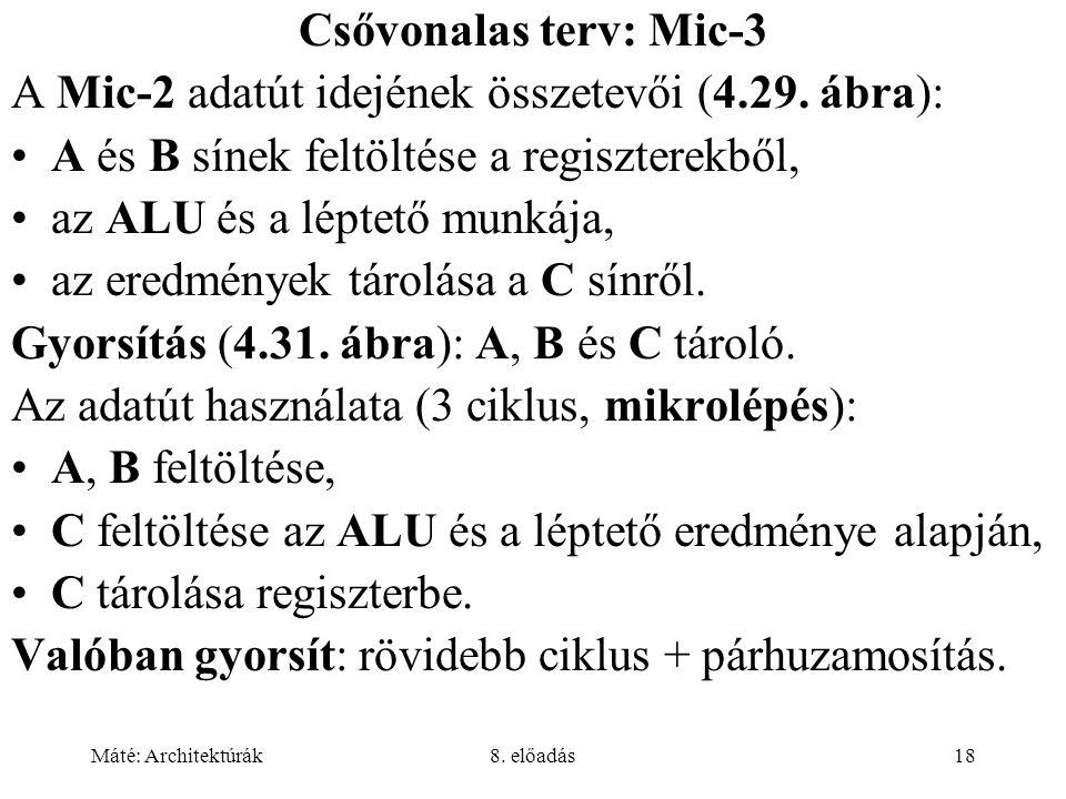 Máté: Architektúrák8. előadás18 Csővonalas terv: Mic-3 A Mic-2 adatút idejének összetevői (4.29. ábra): A és B sínek feltöltése a regiszterekből, az A
