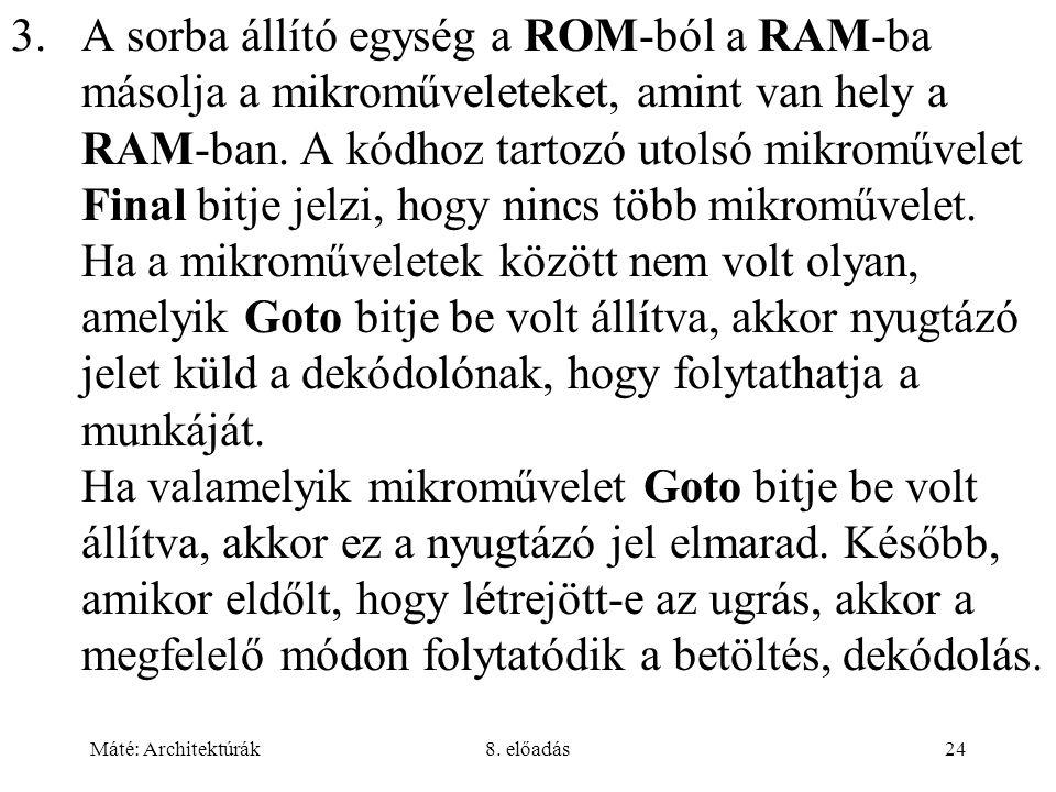 Máté: Architektúrák8. előadás24 3.A sorba állító egység a ROM-ból a RAM-ba másolja a mikroműveleteket, amint van hely a RAM-ban. A kódhoz tartozó utol