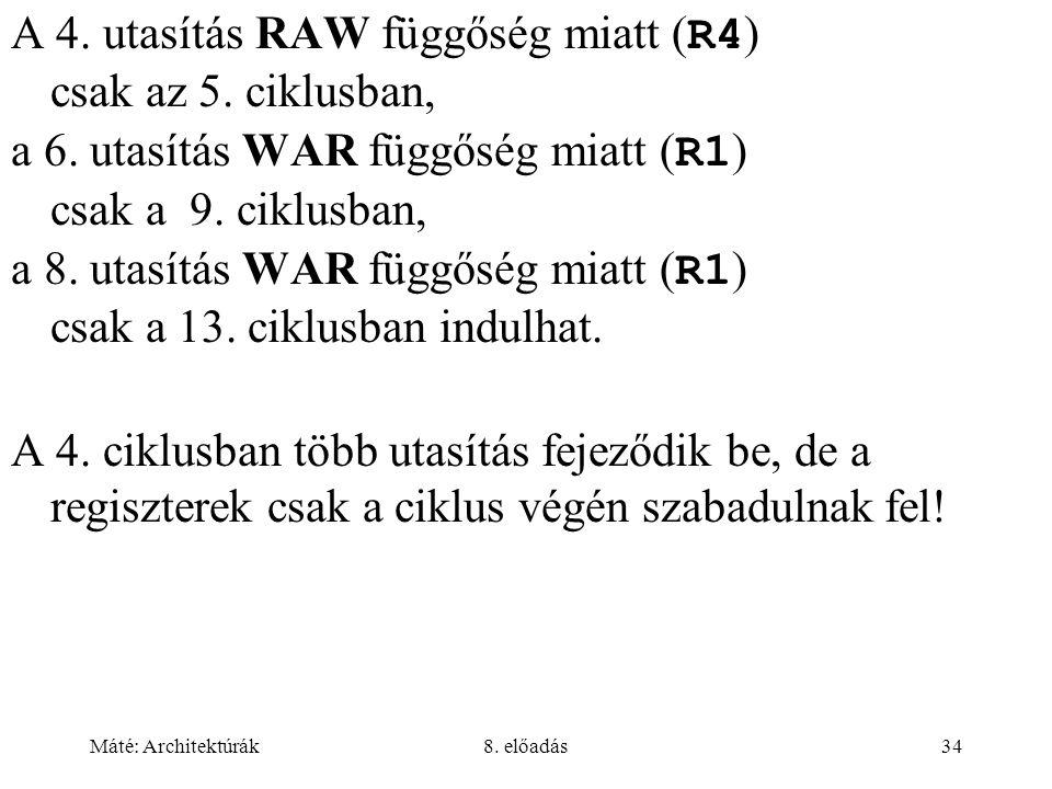 Máté: Architektúrák8. előadás34 A 4. utasítás RAW függőség miatt ( R4 ) csak az 5. ciklusban, a 6. utasítás WAR függőség miatt ( R1 ) csak a 9. ciklus