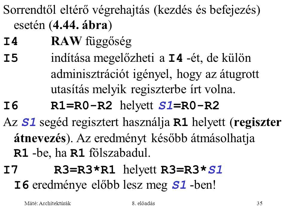 Máté: Architektúrák8. előadás35 Sorrendtől eltérő végrehajtás (kezdés és befejezés) esetén (4.44. ábra) I4 RAW függőség I5 indítása megelőzheti a I4 -