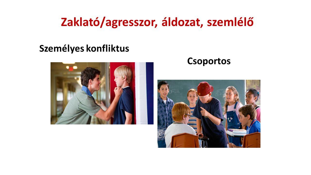 Zaklató/agresszor, áldozat, szemlélő Személyes konfliktus Csoportos