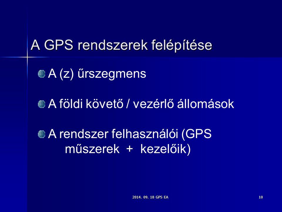 2014. 09. 18 GPS EA10 A GPS rendszerek felépítése A (z) űrszegmens A földi követő / vezérlő állomások A rendszer felhasználói (GPS műszerek + kezelőik