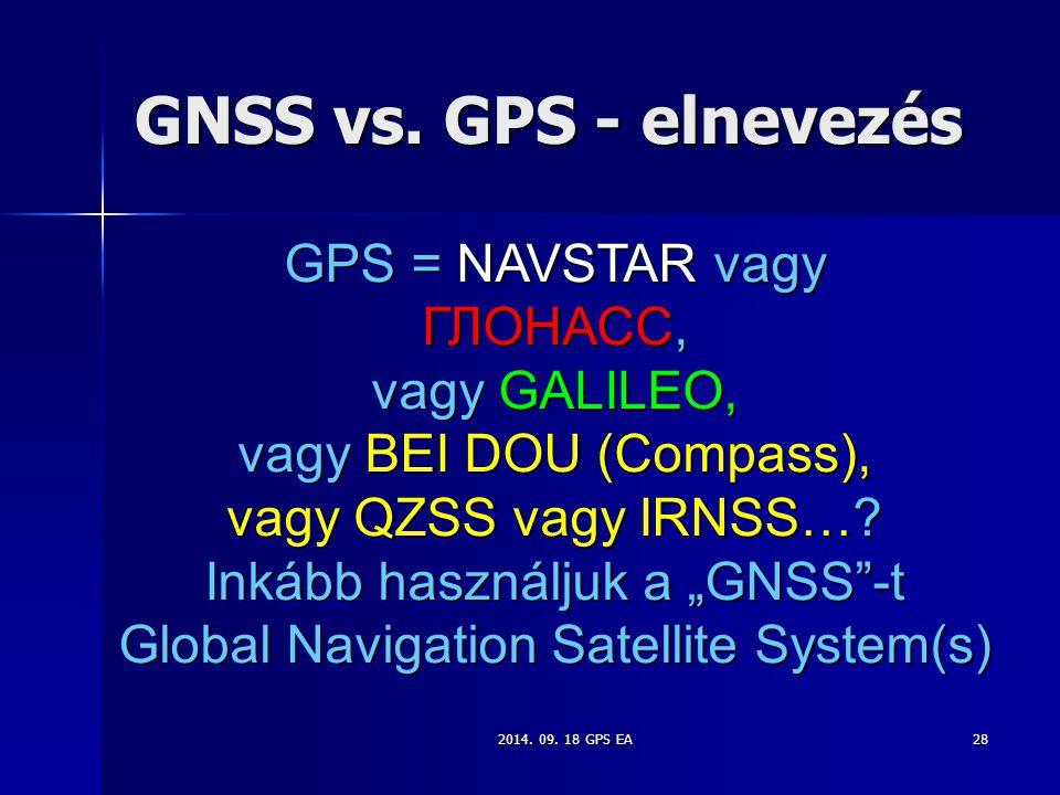 2014. 09. 18 GPS EA28 GNSS vs. GPS - elnevezés GPS = NAVSTAR vagy ГЛОНАСС, vagy GALILEO, vagy BEI DOU (Compass), vagy QZSS vagy IRNSS…? Inkább használ