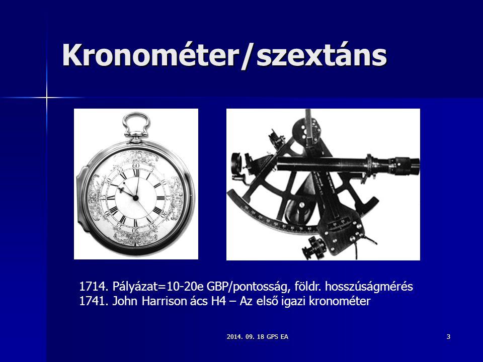 2014. 09. 18 GPS EA3 Kronométer/szextáns 1714. Pályázat=10-20e GBP/pontosság, földr. hosszúságmérés 1741. John Harrison ács H4 – Az első igazi kronomé