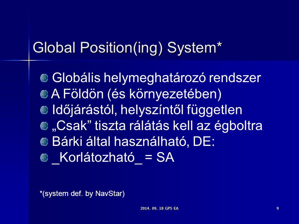 """2014. 09. 18 GPS EA9 Global Position(ing) System* Globális helymeghatározó rendszer A Földön (és környezetében) Időjárástól, helyszíntől független """"Cs"""