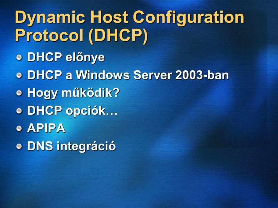 DHCP előnye DHCP a Windows Server 2003-ban Hogy működik DHCP opciók… APIPA DNS integráció