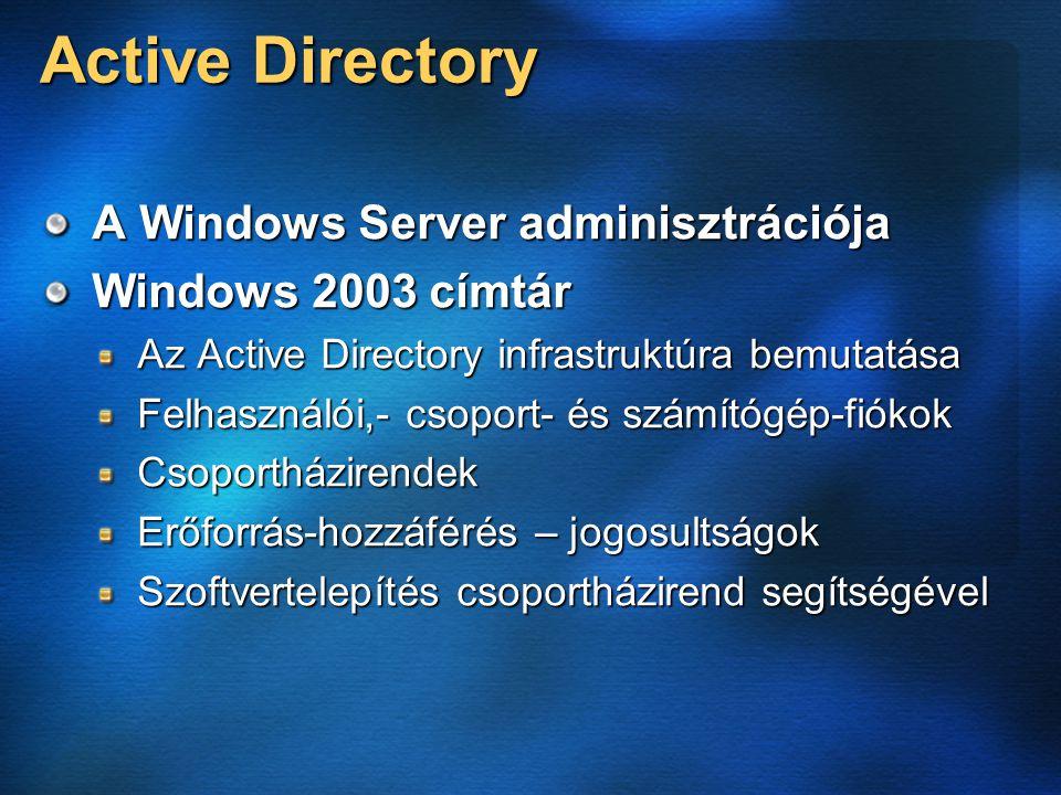 Active Directory A Windows Server adminisztrációja Windows 2003 címtár Az Active Directory infrastruktúra bemutatása Felhasználói,- csoport- és számítógép-fiókok Csoportházirendek Erőforrás-hozzáférés – jogosultságok Szoftvertelepítés csoportházirend segítségével