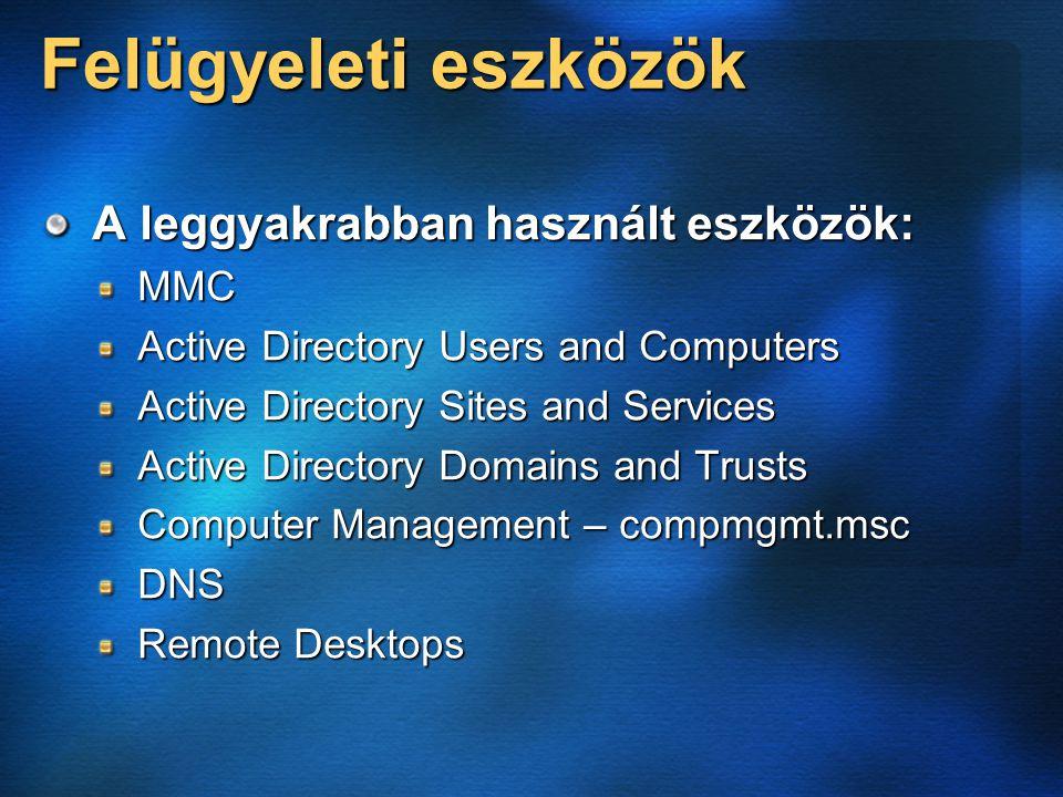 Felügyeleti eszközök A leggyakrabban használt eszközök: MMC Active Directory Users and Computers Active Directory Sites and Services Active Directory