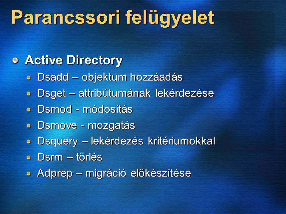 Parancssori felügyelet Active Directory Dsadd – objektum hozzáadás Dsget – attribútumának lekérdezése Dsmod - módosítás Dsmove - mozgatás Dsquery – lekérdezés kritériumokkal Dsrm – törlés Adprep – migráció előkészítése