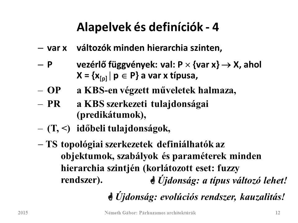 Alapelvek és definíciók - 4 – var xváltozók minden hierarchia szinten, – Pvezérlő függvények: val: P  {var x}  X, ahol X = {x [p]  p  P} a var x típusa, 2015Németh Gábor: Párhuzamos architektúrák12   Újdonság: a típus változó lehet.