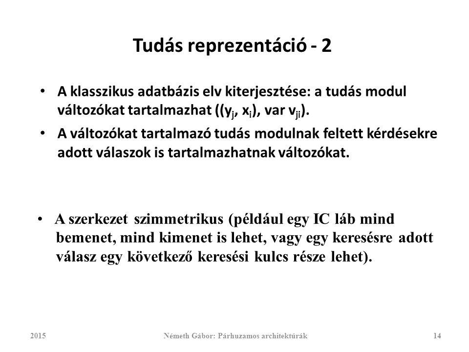 Tudás reprezentáció - 2 A klasszikus adatbázis elv kiterjesztése: a tudás modul változókat tartalmazhat ((y j, x i ), var v ji ).