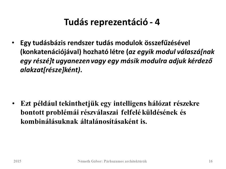 Tudás reprezentáció - 4 Egy tudásbázis rendszer tudás modulok összefűzésével (konkatenációjával) hozható létre (az egyik modul válaszá[nak egy részé]t ugyanezen vagy egy másik modulra adjuk kérdező alakzat[része]ként).