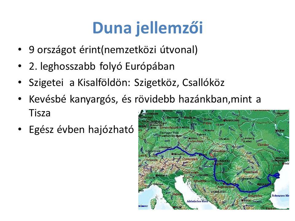 Duna jellemzői 9 országot érint(nemzetközi útvonal) 2. leghosszabb folyó Európában Szigetei a Kisalföldön: Szigetköz, Csallóköz Kevésbé kanyargós, és