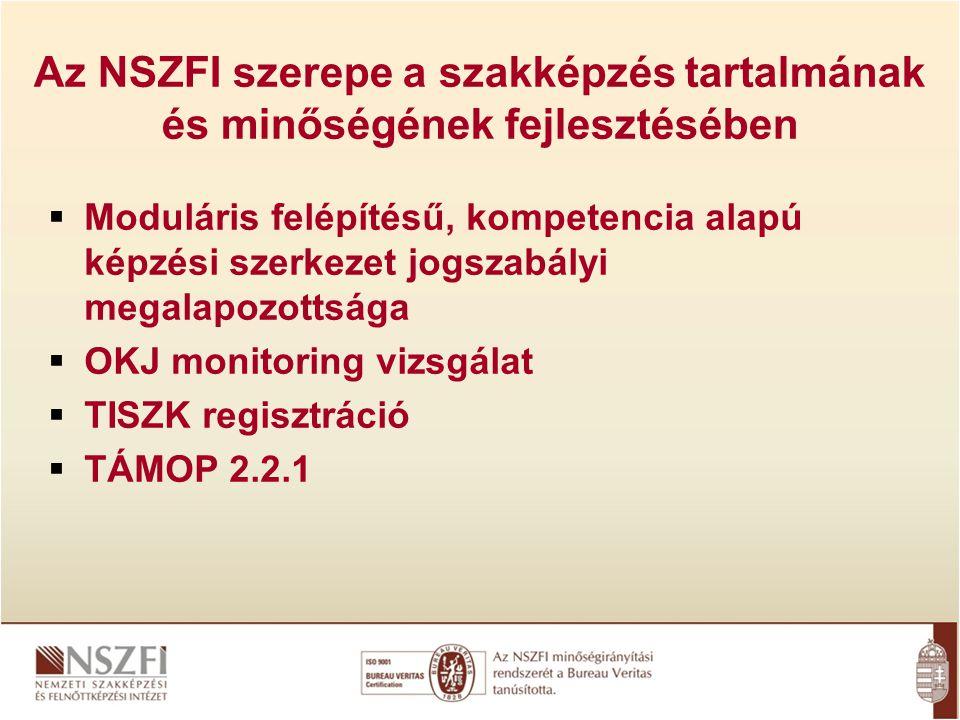 Az NSZFI szerepe a szakképzés tartalmának és minőségének fejlesztésében  Moduláris felépítésű, kompetencia alapú képzési szerkezet jogszabályi megalapozottsága  OKJ monitoring vizsgálat  TISZK regisztráció  TÁMOP 2.2.1