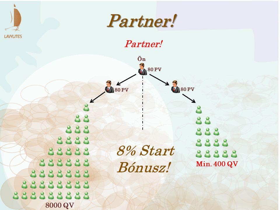 80 PV Partner! 80 PV 8% Start Bónusz! 8000 QV Min. 400 QV Partner! Ön