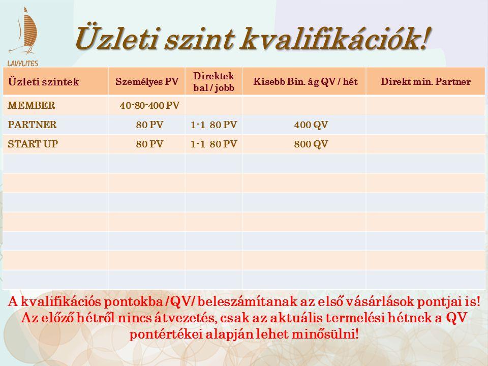 Üzleti szintek Személyes PV Direktek bal / jobb Hagy.