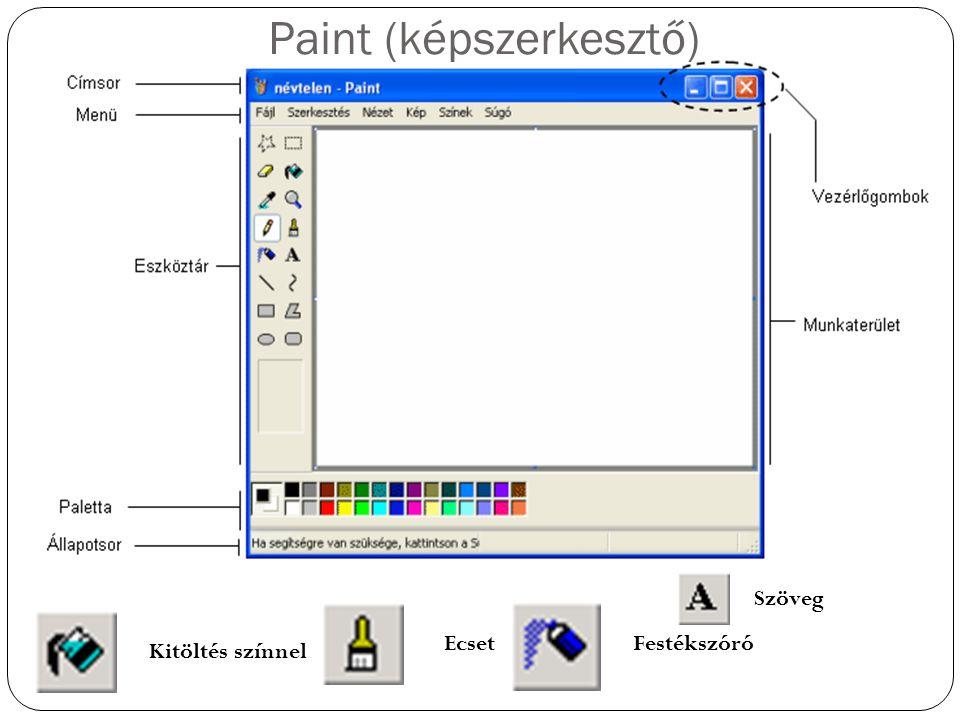 Paint (képszerkesztő) Kitöltés színnel EcsetFestékszóró Szöveg