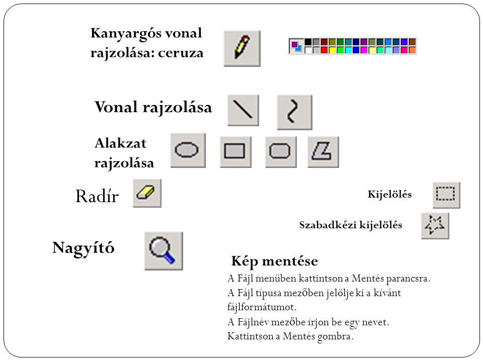 Kanyargós vonal rajzolása: ceruza Vonal rajzolása Radír A Fájl menüben kattintson a Mentés parancsra. A Fájl típusa mez ő ben jelölje ki a kívánt fájl