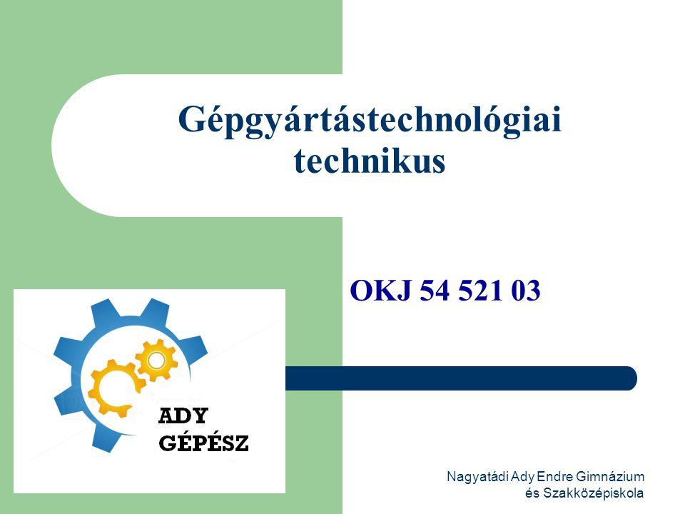 Nagyatádi Ady Endre Gimnázium és Szakközépiskola Gépgyártástechnológiai technikus OKJ 54 521 03