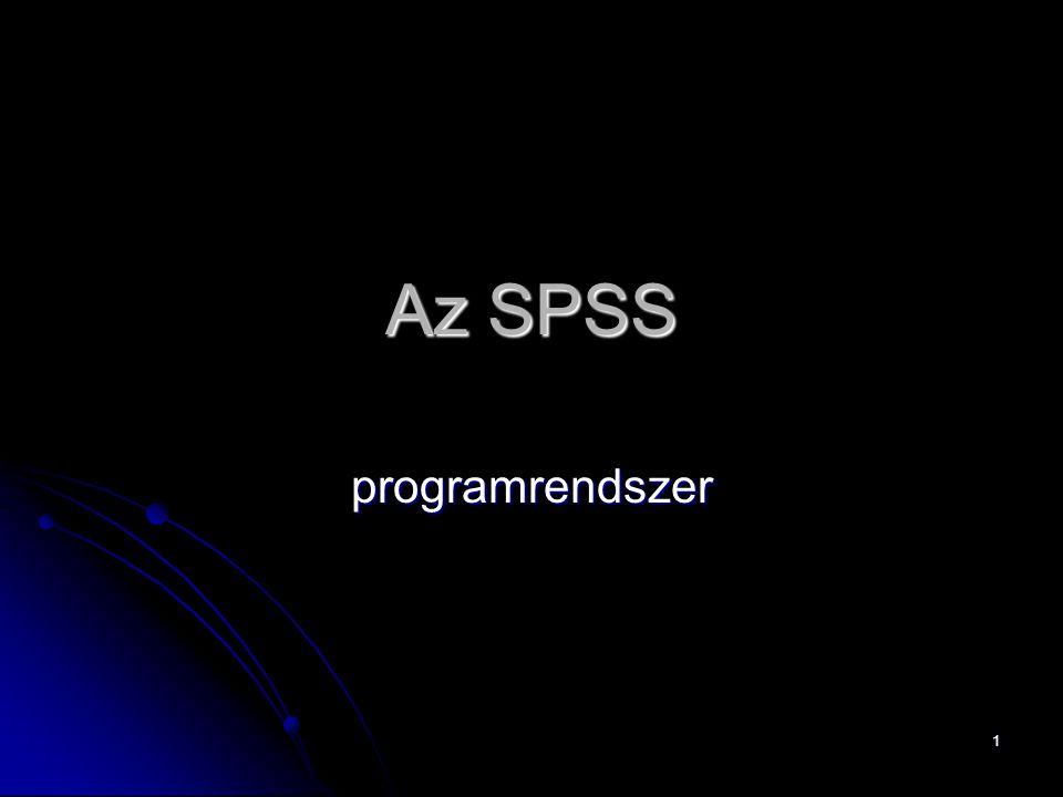 1 Az SPSS programrendszer