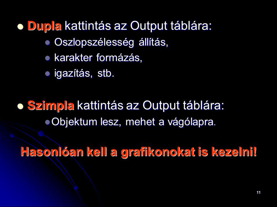 11 Dupla kattintás az Output táblára: Dupla kattintás az Output táblára: Oszlopszélesség állítás, Oszlopszélesség állítás, karakter formázás, karakter