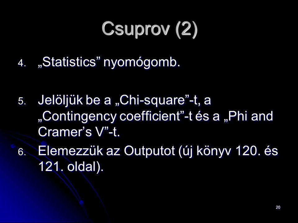 "20 Csuprov (2) 4. ""Statistics"" nyomógomb. 5. Jelöljük be a ""Chi-square""-t, a ""Contingency coefficient""-t és a ""Phi and Cramer's V""-t. 6. Elemezzük az"
