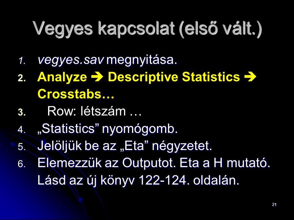 """21 Vegyes kapcsolat (első vált.) 1. vegyes.sav megnyitása. 2. 2. Analyze  Descriptive Statistics  Crosstabs… 3. 3. Row: létszám … 4. """"Statistics"""" ny"""