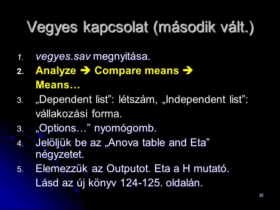 """22 Vegyes kapcsolat (második vált.) 1. vegyes.sav megnyitása. 2. 2. Analyze  Compare means  Means… 3. 3. """"Dependent list"""": létszám, """"Independent lis"""