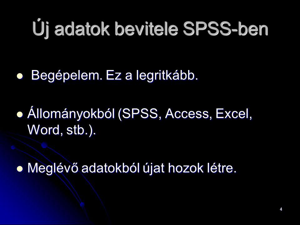 4 Új adatok bevitele SPSS-ben Begépelem. Ez a legritkább. Begépelem. Ez a legritkább. Állományokból (SPSS, Access, Excel, Word, stb.). Állományokból (