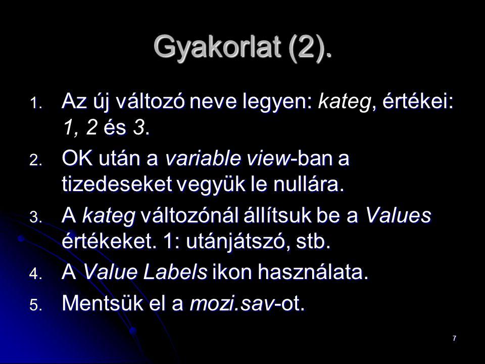7 Gyakorlat (2). 1. Az új változó neve legyen:, értékei: és. 1. Az új változó neve legyen: kateg, értékei: 1, 2 és 3. 2. OK után a variable view-ban a