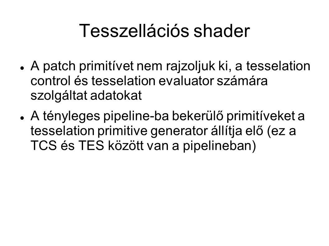 Tesszellációs shader A patch primitívet nem rajzoljuk ki, a tesselation control és tesselation evaluator számára szolgáltat adatokat A tényleges pipeline-ba bekerülő primitíveket a tesselation primitive generator állítja elő (ez a TCS és TES között van a pipelineban)