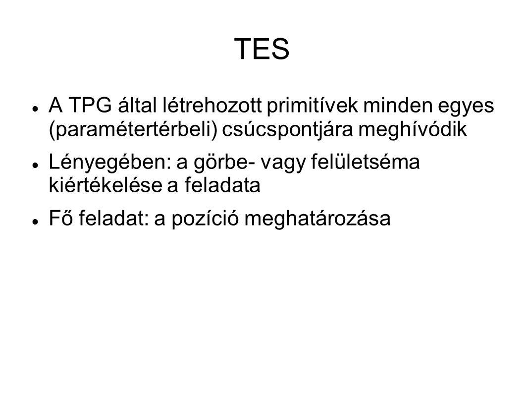 TES A TPG által létrehozott primitívek minden egyes (paramétertérbeli) csúcspontjára meghívódik Lényegében: a görbe- vagy felületséma kiértékelése a feladata Fő feladat: a pozíció meghatározása