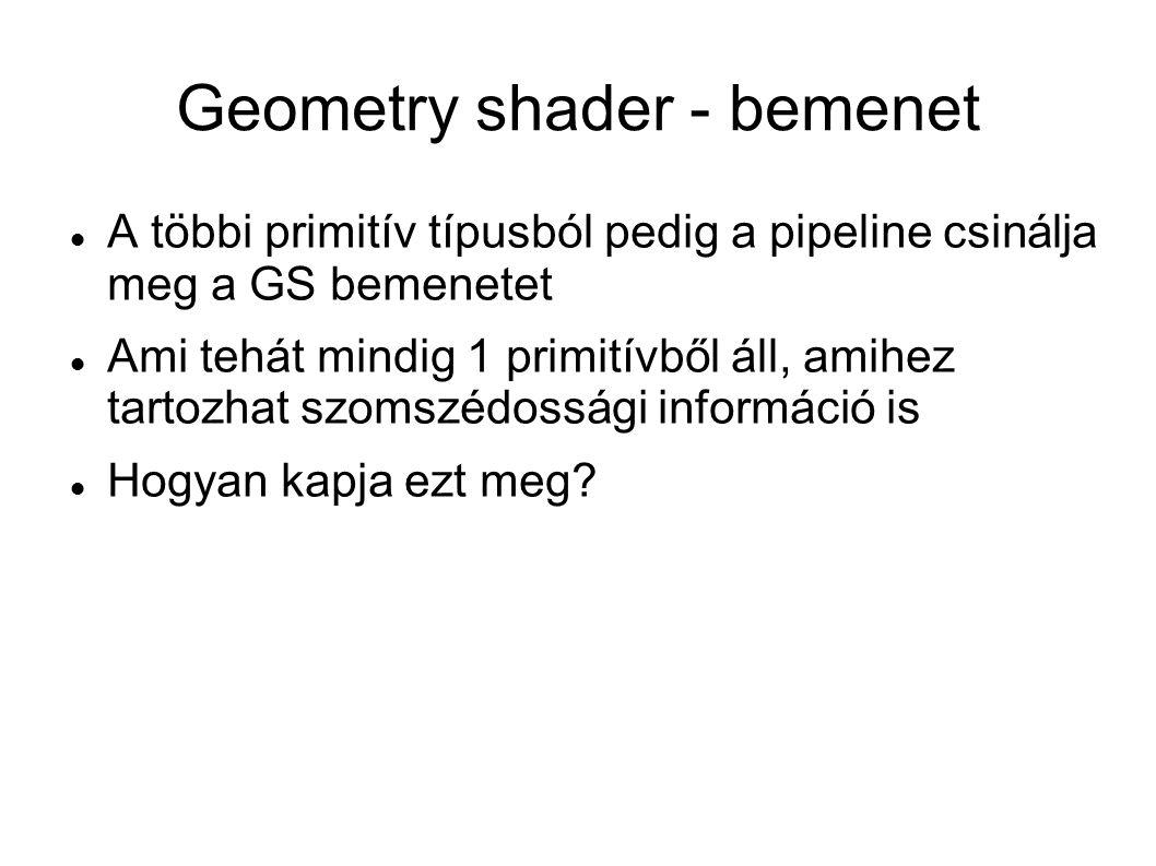 Geometry shader - bemenet A többi primitív típusból pedig a pipeline csinálja meg a GS bemenetet Ami tehát mindig 1 primitívből áll, amihez tartozhat szomszédossági információ is Hogyan kapja ezt meg