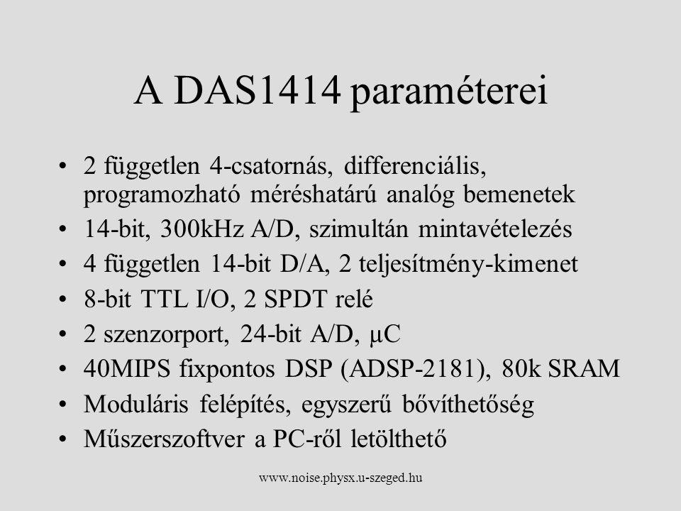 www.noise.physx.u-szeged.hu A DAS1414 paraméterei 2 független 4-csatornás, differenciális, programozható méréshatárú analóg bemenetek 14-bit, 300kHz A/D, szimultán mintavételezés 4 független 14-bit D/A, 2 teljesítmény-kimenet 8-bit TTL I/O, 2 SPDT relé 2 szenzorport, 24-bit A/D, µC 40MIPS fixpontos DSP (ADSP-2181), 80k SRAM Moduláris felépítés, egyszerű bővíthetőség Műszerszoftver a PC-ről letölthető
