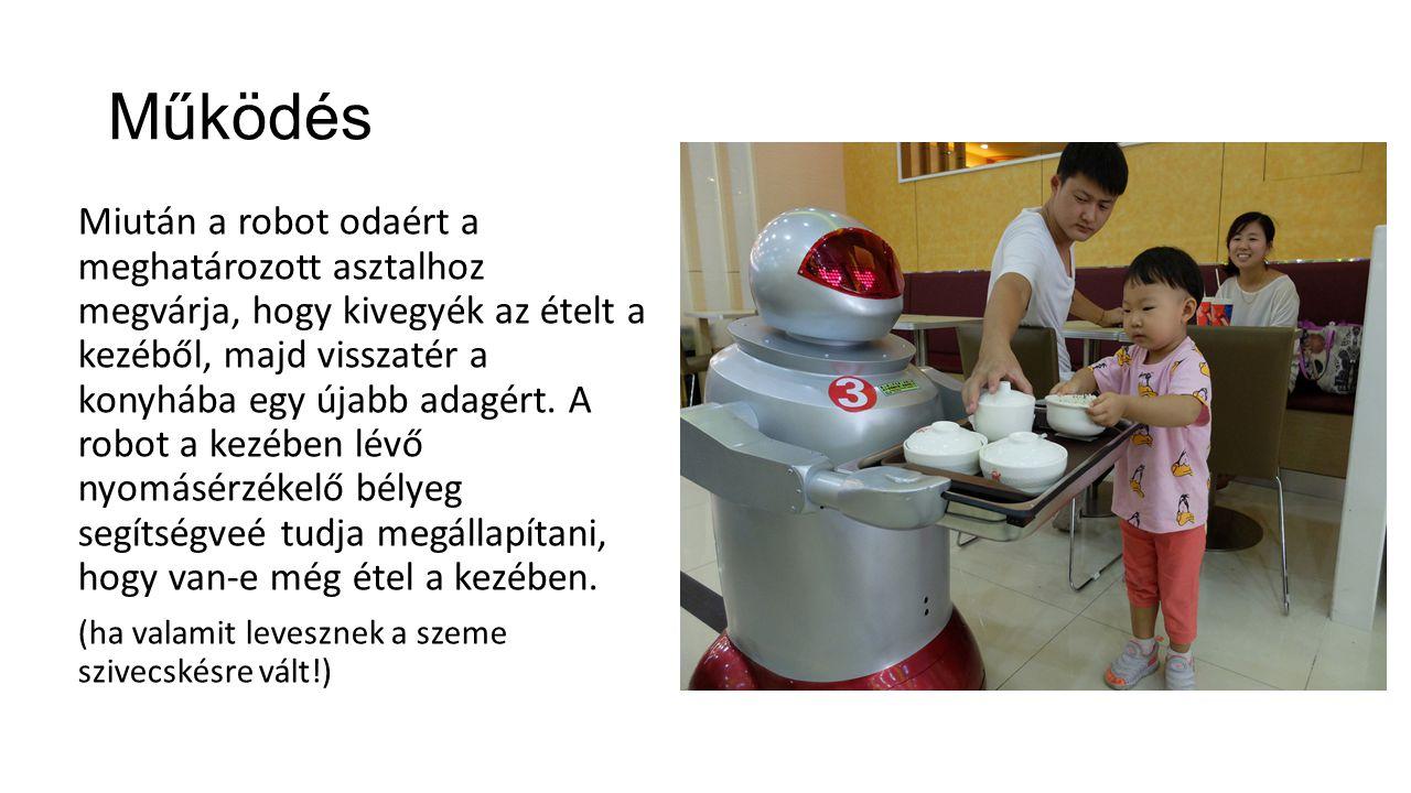 Működés Miután a robot odaért a meghatározott asztalhoz megvárja, hogy kivegyék az ételt a kezéből, majd visszatér a konyhába egy újabb adagért. A rob