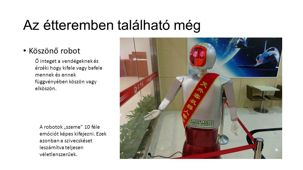 Az étteremben található még Köszönő robot Ő integet a vendégeknek és érzéki hogy kifele vagy befele mennek és ennek függvényében köszön vagy elköszön.