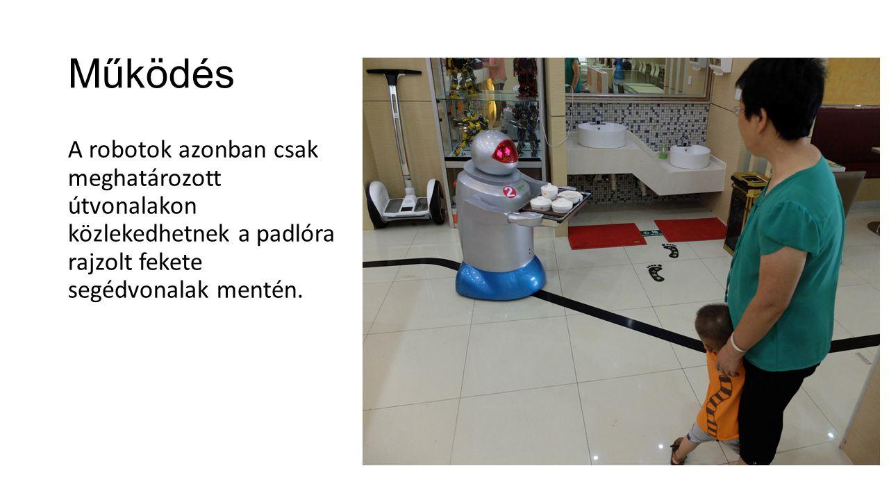 Működés A robotok azonban csak meghatározott útvonalakon közlekedhetnek a padlóra rajzolt fekete segédvonalak mentén.