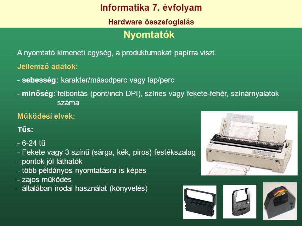 Informatika 7. évfolyam Hardware összefoglalás Nyomtatók A nyomtató kimeneti egység, a produktumokat papírra viszi. Jellemző adatok: - sebesség: karak