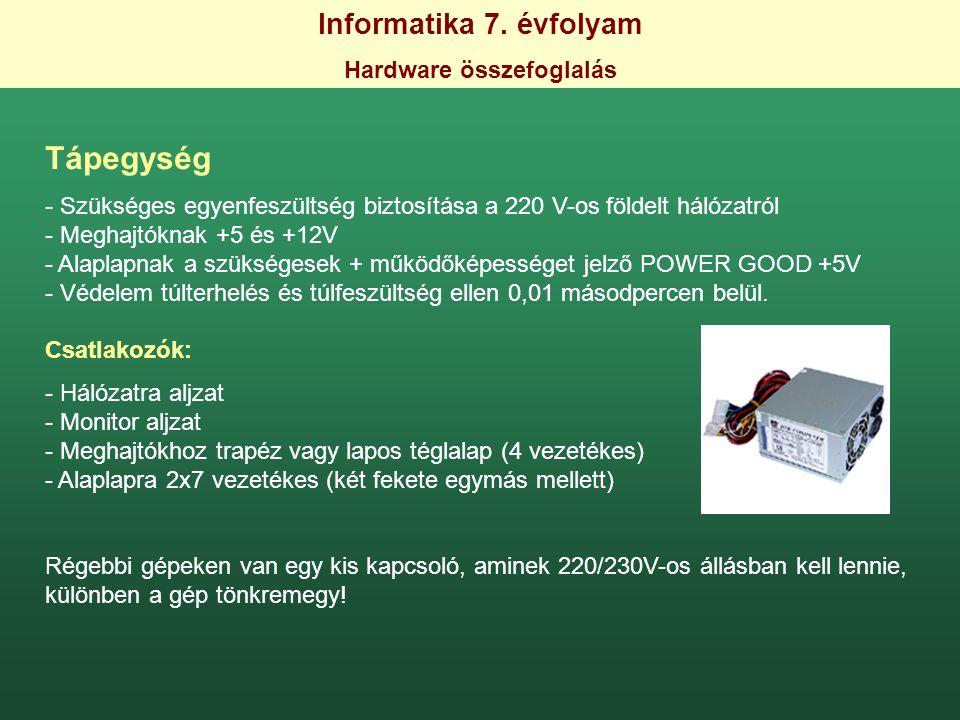 Informatika 7. évfolyam Hardware összefoglalás Tápegység - Szükséges egyenfeszültség biztosítása a 220 V-os földelt hálózatról - Meghajtóknak +5 és +1