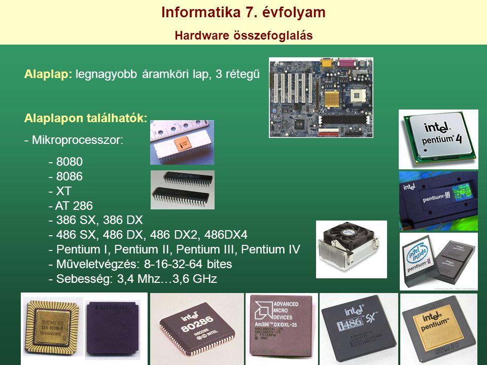 Informatika 7. évfolyam Hardware összefoglalás Alaplap: legnagyobb áramköri lap, 3 rétegű Alaplapon találhatók: - Mikroprocesszor: - 8080 - 8086 - XT