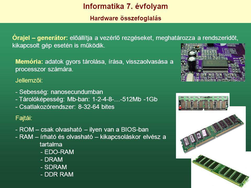 Informatika 7. évfolyam Hardware összefoglalás Órajel – generátor: előállítja a vezérlő rezgéseket, meghatározza a rendszeridőt, kikapcsolt gép esetén