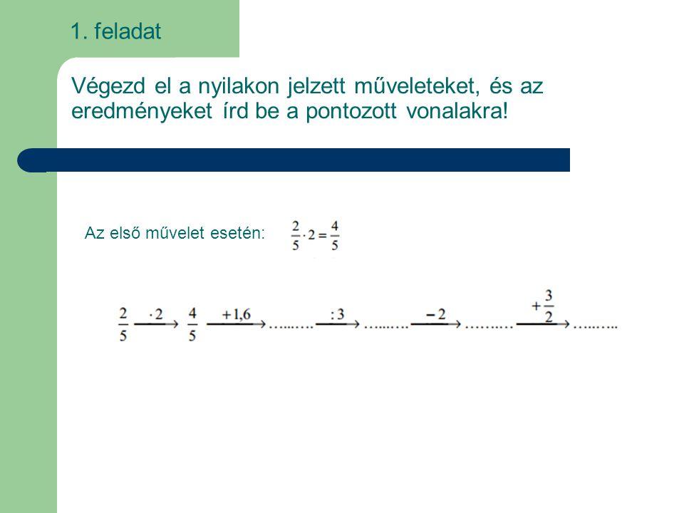 1. feladat Végezd el a nyilakon jelzett műveleteket, és az eredményeket írd be a pontozott vonalakra! Az első művelet esetén: